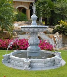 large water fountain and beautiful backyard ideas