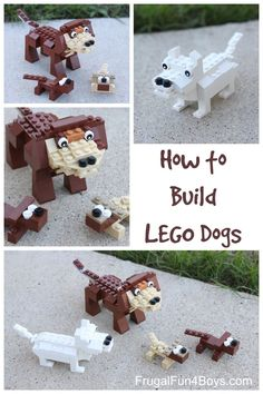 LEGO Dog Building Instructions - Frugal Fun For Boys LEGO Dogs - Building Instructions! If you really like arts and crafts you will appreciate this cool site! Lego Design, Lego Duplo, Lego Ninjago, Deco Lego, Projects For Kids, Crafts For Kids, Lego Dog, Lego Club, Lego Craft