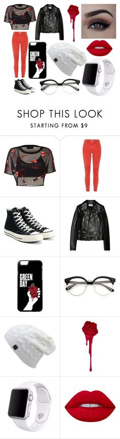 """""""Untitled #24"""" by lysmarie2004 ❤ liked on Polyvore featuring River Island, Converse, Yves Saint Laurent, Apple and Lime Crime"""