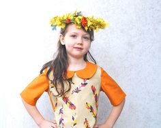 Spring Dress- Girls Dress in 2T to 6T- Eco Friendly Dress in Feathers with Orange- Modern Kids Clothing by SewnNatural on Etsy https://www.etsy.com/listing/111167185/spring-dress-girls-dress-in-2t-to-6t-eco