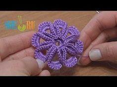 Crochet 8-petal 3D Flower Tutorial 5 - YouTube
