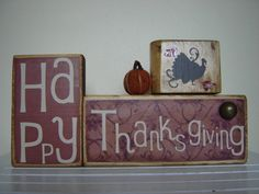 Happy Thanksgiving with turkey and pumpkin, primitive holiday decoration.
