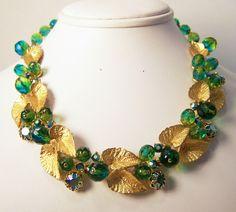 Vintage Schiaparelli Rhinestone Beaded Necklace Signed Peacock Blue Green Gold #Schiaparelli #Rhinestone