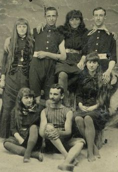 C1870s Coed Swimmers Women Men in Great Group Pose Early Swimsuit Tintype