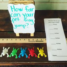 Pin This pin shows frogs being used to measure and compare. The toy frogs are sprung forward then measured and compared. Measurement Kindergarten, Measurement Activities, Math Measurement, Kindergarten Activities, Classroom Activities, Teaching Math, Maths 3e, Maths Eyfs, Primary Maths
