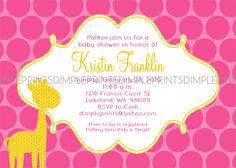 Giraffe Printable Baby Shower or Sprinkle Invite - Dimple Prints Shop