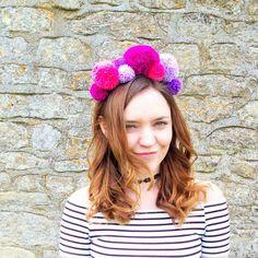 Jessie Pom Pom Headband  Pinks by LilahRoseShop on Etsy