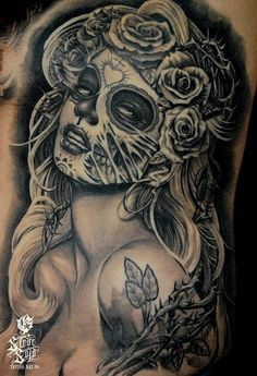 Another 100% love!! The half face/half skull idea. The whole overall look of the girl. Roses and thorns combined are awesome. Maybe thorns coming through skull??