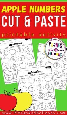 Free printable cut and paste worksheets for your preschool apple theme! FREE printable number activity for preschoolers. #prek #preschool #fall #appletheme #planesandballoons