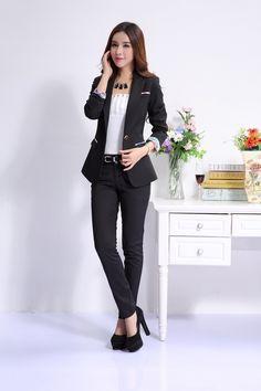 Aliexpress.com  Comprar Nuevo 2015 otoño Formal mujer blanco mujeres abrigos  Blazer chaquetas elegante oficina de moda para mujer Blazer estilo OL de ... 52bede07f416