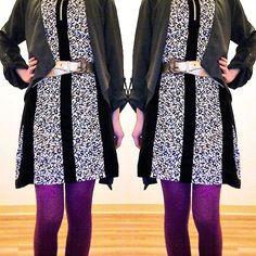 #springforward with #color. ⠀⠀⠀ ⠀ #purple #tights #gold #belt #animalprint #dress #gray #grey #cardigan #jacket #wrap #coat #fun #funk #play #datenight #look #girlsnightout #modern #contemporary #style #fashion #fridaynight #weekend #luxury #luxe #rich #accessories