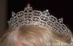 The Greville Tiara: This diamond and platinum tiara was made by Boucheron for Mrs. Greville, who left it to the Queen Mother as a part of a large jewel bequest in 1942. After tweaking the shape just a bit, it became one of the Queen Mother's favorite tiaras. In 2005, the Queen loaned it to her daughter-in-law, the Duchess of Cornwall, who has also made it one of her favorite sparklers.