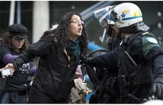 Police stop anti-pipeline protest in Montreal! If you care about water air and soil that is clean enough to grow food,wll then you must be ' one of those environmentalists'