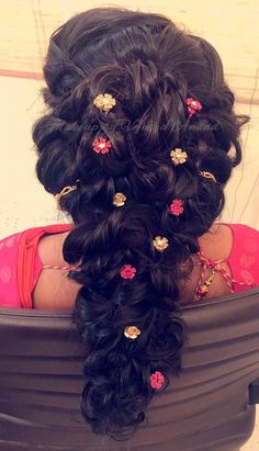 Gorgeous bridal hairstyle for reception. Hair by Vejetha for Swank. Bridal hair. Up do. Hair accessory. Loose fishtail braid.