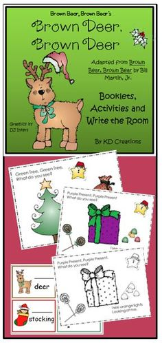 This is a fun adaption of the old favorite Brown Bear, Brown Bear made just for Christmas! Enjoy a color copy teacher booklet to share with the class and a black and white printable copy of the story for each student to have for their own.