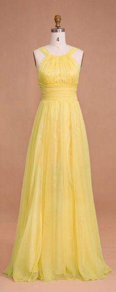 Soft yellow long bridesmaid dresses