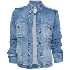 Buttons Detail Denim Jacket ❤ liked on Polyvore