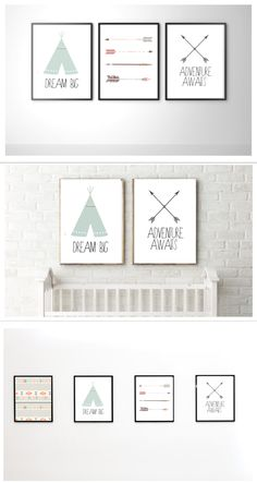 Tribal Theme | Adventure Awaits | Pack of Four Nursery Prints | Instant Download