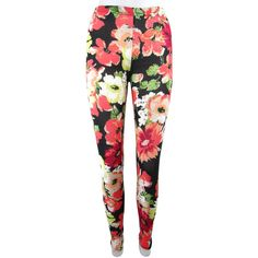 Bold Floral Print Footless Leggings Designed Leggings Goth... ($20) ❤ liked on Polyvore featuring pants, leggings, grey, women's clothing, gothic pants, gray leggings, stretch waist pants, floral printed leggings and elastic waist pants