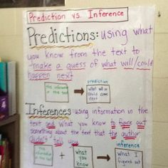 Predictions vs Inferences. Good chart ti teach students prediction and inferring strategies.