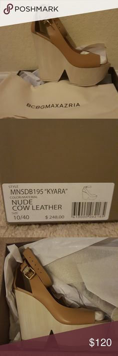 BCBG Maxazria Kyara Leather Wedge Sandal BRAND NEW Beige and tan platform sandals BCBGMaxAzria Shoes Platforms