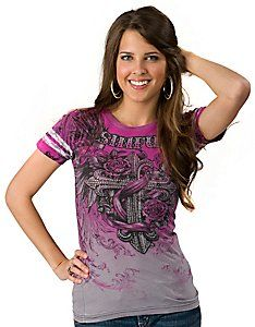 Sinful™ by Affliction® Womens Cocomo Pink and Silver Winged Cross Short Sleeve Tee