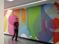 Wall graphics at Kentish Town Health Centre, UK by Architects Ahmm (Allford Hall Monaghan Morris) Signage Display, Signage Design, Banner Design, Environmental Graphic Design, Environmental Graphics, Hoarding Design, Floor Graphics, Window Graphics, Healthcare Design