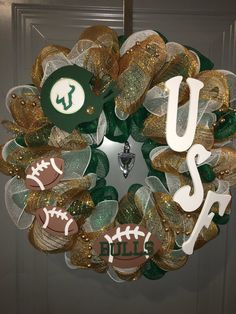 Football Season is here!!!! Support your favorite NFL or NCAA College team. All wreaths are handmade to order. Designed to support your favorite NFL or NCAA college team. Dont worry you can also place orders for any sports team you like including NBA, NHL, MLB, or WNBA - the options are endless. All wreaths are made with 3 layers of mesh ribbon, wooden letters, and sports themed wooden accents. Some wreaths can include a mascot if available. Also will do a house divided wreath. All wreaths…