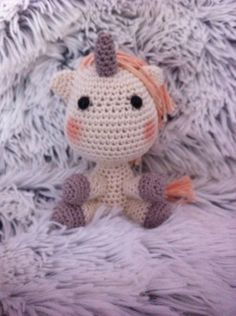 Crochet unicorn gehaakte eenhoorn. Gehaakt door Annemarie Evers/mani di Anne