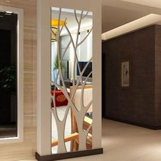 Fairmont Park Modern and stylish design and functionality. This mirror performs a useful function, but one with an interesting shape will also constitute the decoration of the interior. Acrylic mirrors are durable and unleashing. Laser processing makes the edges of mirror elements not sharp, they are definitely lighter than glass. The mirror has gaps between the elements. A given pattern consists of individual pieces. A double-sided tape for quick installation is included with each mirror… Living Room Partition Design, Room Partition Designs, Ceiling Design, Wall Design, House Design, Modern Mirror Design, Modern Mirrors, Modern Wall, Pop Design
