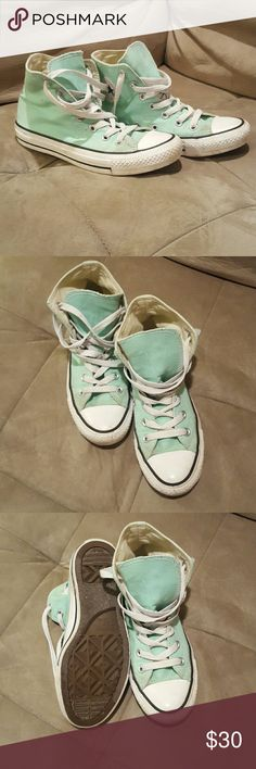 Aqua Converse Chuck Taylor High Tops - great used condition, very little signs of wear - rare color - incredibly cute and comfortable - size 6 women's, size 4 men's Converse Shoes Sneakers
