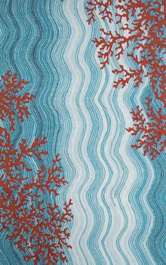 Honor your love for the ocean with the addition of the Liora Manne Visions IV Coral Reef Indoor/Outdoor Area Rug. This blue and red rug features a wave-like design with coral accents. This nautical area rug is hand tufted and features fade-resistant dyes. Tropical Outdoor Rugs, Indoor Outdoor Area Rugs, Outdoor Living, Coral Reef Color, Coral Blue, Coral Reefs, Ocean Rug, Ocean Waves, Contemporary Rugs
