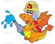 Hasič drak — Stocková ilustrace #2201269