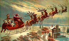 Trenó de Papai Noel se movimenta magicamente  pelo céu na noite de Natal ( Pesquisa do Google)
