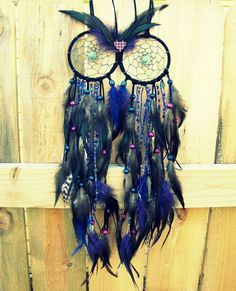 Owl Dream Catcher  Blue and Purple Extra Large by peacefrogdesigns, $95.00