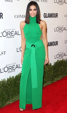 Jenna Dewan Tatum in a green Solace London halter dress