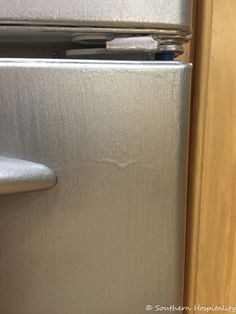 Painting a White Refrigerator with Liquid Stainless Steel - Southern Hospitality