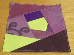 Crazy patchwork square - purple