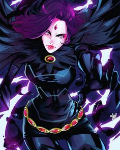 Raven battles the forces of evil alongside her adoptive family, the Teen Titans while trying to control her baser, antagonistic instincts she inherited from her demonic father, Trigon. Teen Titans Go, Teen Titans Raven, Raven Comics, Arte Dc Comics, Comic Book Characters, Comic Character, Female Characters, Robin And Raven, Raven Beast Boy