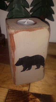 BLACK BEAR Reclaimed Wood Candle Holder Decor by UniquePrimtiques
