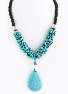 TEARDROP STONE ACCENT ROPE NECKLACE