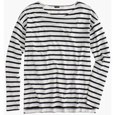J.Crew Deck-Striped T-Shirt (1.145 RUB) ❤ liked on Polyvore featuring tops, shirts, long sleeves, sweaters, cotton shirts, loose long sleeve shirt, extra long sleeve shirts, long sleeve shirts and striped top