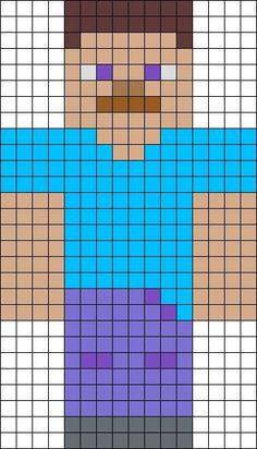 Perler Bead patterns Minecraft | Steve from Minecraft perler bead pattern
