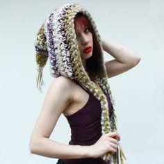 Hood long open Scarf chunky elfin cowl fringe wool by HookedWear, $52.00
