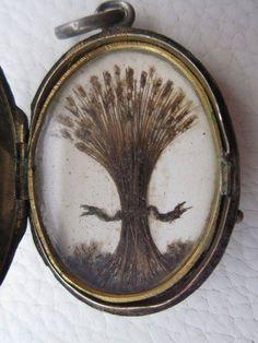 Wheat sheaf symbol made of hair strands and macerated hair. Wheat sheaves…