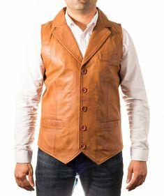 Men/'s SMART WAISTCOAT Black Sleeveless Casual Formal Real Lambskin Leather Zara