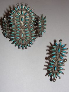 Zuni Native American Sterling Silver and Needle Point Marquise Shaped Turquoise Cuff Bracelet and Ring Set