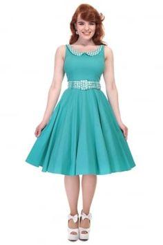 Kitty Gingham Trim Swing Dress