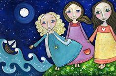 Tres hermanas impresión un rubios dos morenas arte inspirador