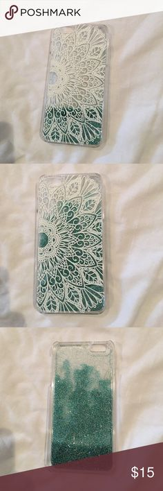 White floral moving glitter case for iPhone 6s+ Teal glitter that moves as you rotate and flip the phone! Has a white floral design on the back side that adds creativity Accessories Phone Cases